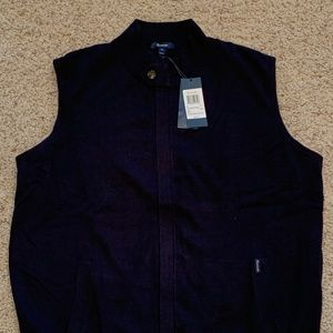 Faconnable NWT Mens Sweater Vest XL Navy Lined